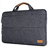 Mosiso Laptop Briefcase Bag for 13-13.3 inch MacBook Pro, MacBook Air, Notebook with Triangle Stand Holder, Shock Absorption Rubber Silicone Bumper Cushion Corner Polyester Sleeve Case Cover, Gray