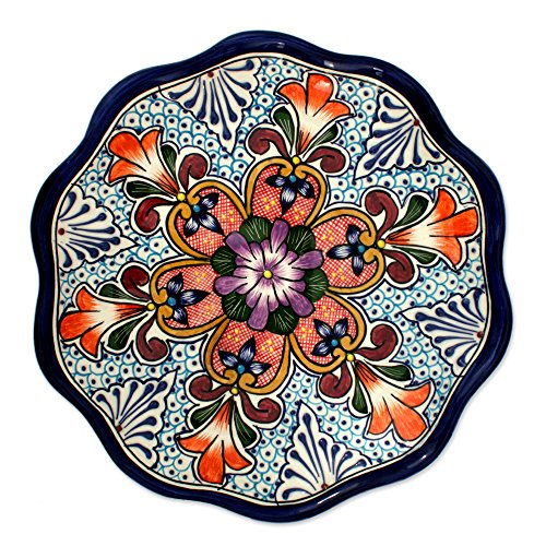 NOVICA Multicolor Floral Ceramic Serving Plate, 'Wilderness'