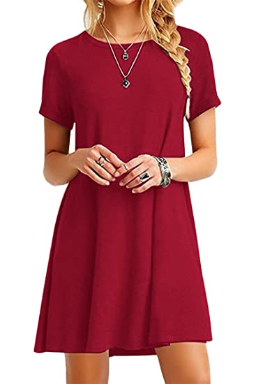 Tunique Col Chemise lfr Vrac Femme Rond Robe 40 Courtes En Loose Mini rouge Robe Yming Manches xQCeEBoWdr