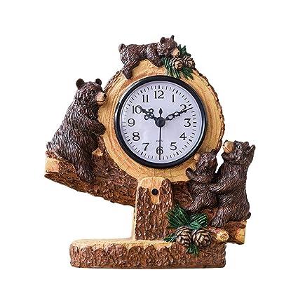 Amazon.com : Fireplace Clocks Family Table Watch Bear, Resin ...