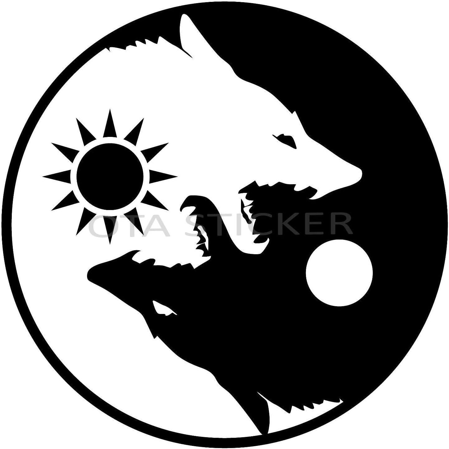 Aufkleber Yin Yang Wolf Schwarz Weiß 2er Pack Aufkleber Symbol Für Auto Fenster Lkw Motorrad Chopper Van Suv Ppv Scrapbook Telefon Gehäuse Laptop Tür Helm Gepäck Küche Haushalt