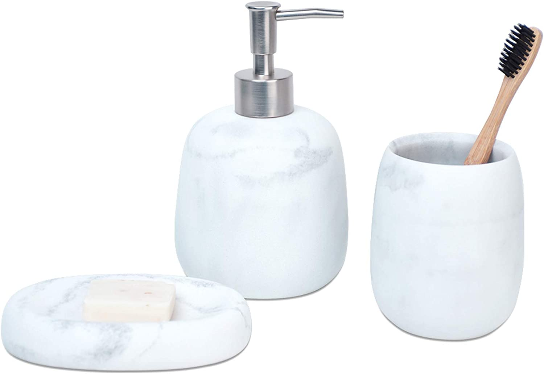Amazon Com Bathroom Soap Dispenser Set White Marble Look Bathroom Accessories Set Soap Dispenser And Toothbrush Holder Set Set Of 3 Home Kitchen