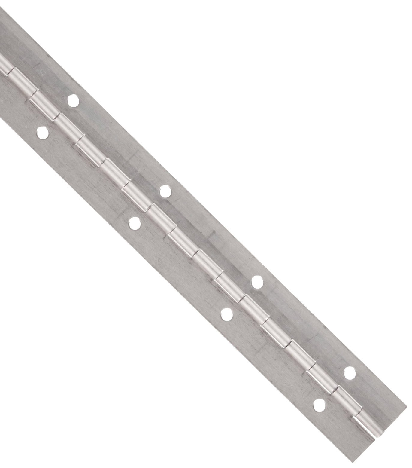 Aluminum 3003 Continuous Hinge with Holes, Unfinished, 0.04'' Leaf Thickness, 1-1/4'' Open Width, 3/32'' Pin Diameter, 1/2'' Knuckle Length, 3' Long (Pack of 1)