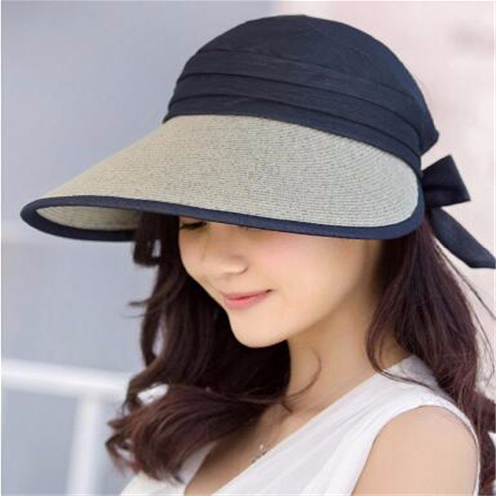 Women Hat Summer Fall Outdoor Shade Straw Hat Straw Wide-Brimmed Hat Sunscreen Beach Sun Hat Uv Protection Black RangYR