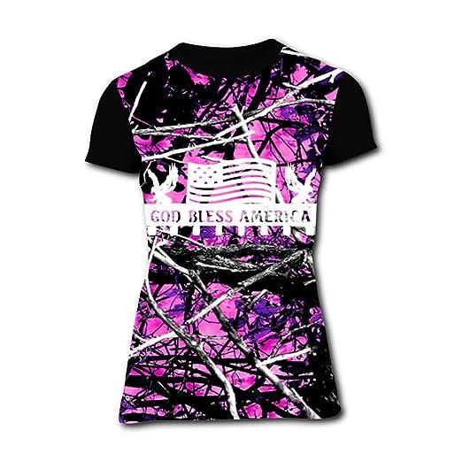 43fd8ba478f4a Wedveld Women's Cool Pink Muddy Girl Camo 3D Printed Short Sleeve T-Shirt S