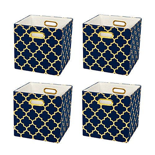 White Bed Side Chest - Collapsible Storage Cubes Organizer Basket Bin Container for Shelf,Drawers,Cabinet, Closet,Chest (4, Blue lantern print)