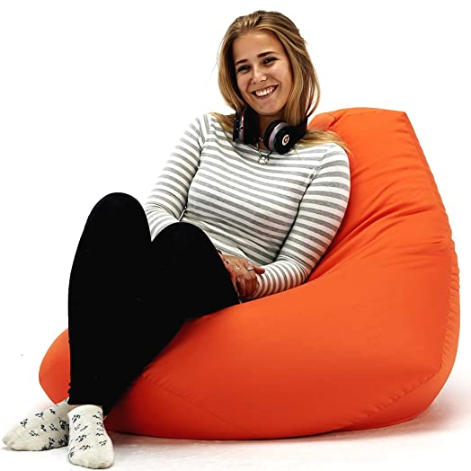 XX L Orange Highback Beanbag Chair Water Resistant Bean Bags For Indoor And Outdoor Use