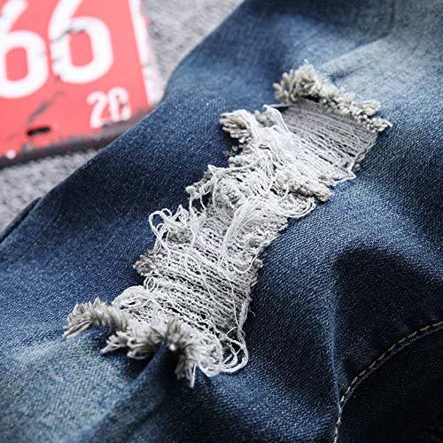 Slim Dritta Strappati Ciclista In Denim Abbigliamento Gamba Vintage Da Jeans Pantaloni Casual Fit Colour Uomo Sxwtn