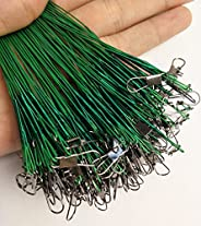 ICE SEA 60pcs/lot Fishing Leaders Rigs Nylon-Coated Fishing Line Wire Leaders with Swivels and Snaps Stainless