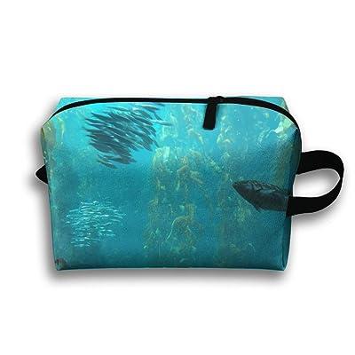 Leisue Ocean Fish In Kelp Forest.JPG Cosmetic Bag Zipper Makeup Accessories Pouch Toiletries Bags Pen Pencil Power Lines Travel Cases Hanging Documents Handbag