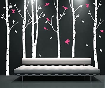 White Birch Tree Wall Decal Nursery with Flying Birds Wall Stickers Tree Vinyl Tree Wall Decals & Amazon.com: White Birch Tree Wall Decal Nursery with Flying Birds ...