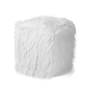 faux fur white shag ottoman footstool cube sheepskin designer accent living room bedroom home decor 16x16x16