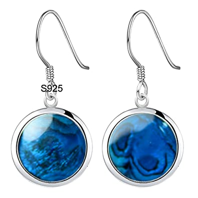 1525b5d3e OK-STORE S925 Natural Blue Abalone Shell, or Red Coral Earrings 18mm Round  925