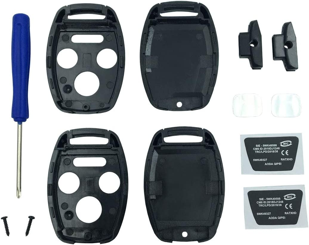 Black pack 2 Casing Only Without Blade Key Fob Shell Case Fit for 4 Buttons Honda Accord Civic EX Pilot Keyless Entry Remote Car Key Housing Replacement with Free Screwdriver