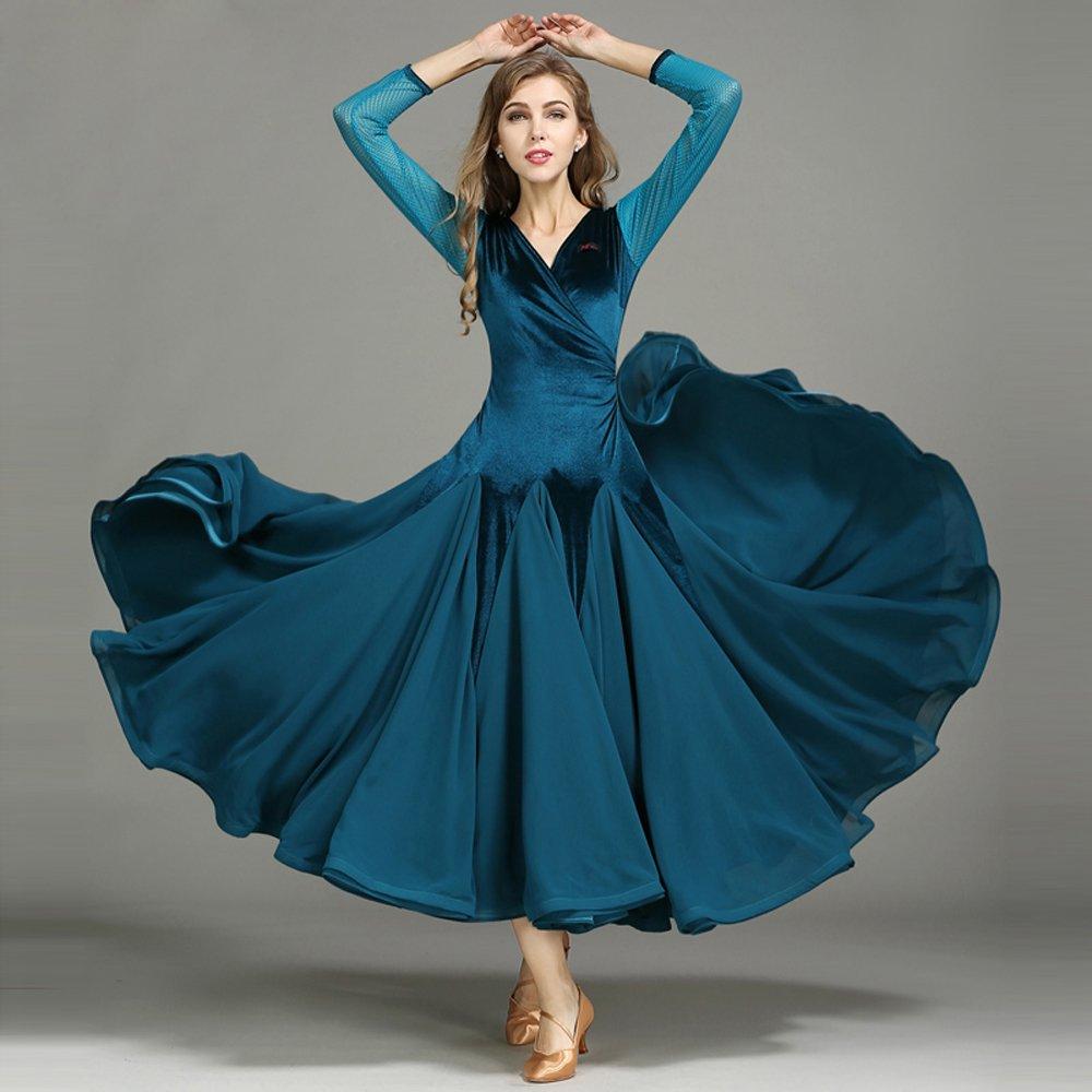 豪華で新しい モダンな女性ベルベットモダンダンスドレスビッグ振り子タンゴとワルツダンスドレスダンスコンペティションスカート長袖細い糸ダンスコスチューム Blue B07HHWMYNW Large Blue Large Blue Large Blue Large, MyStyleヘアストア:383309de --- a0267596.xsph.ru