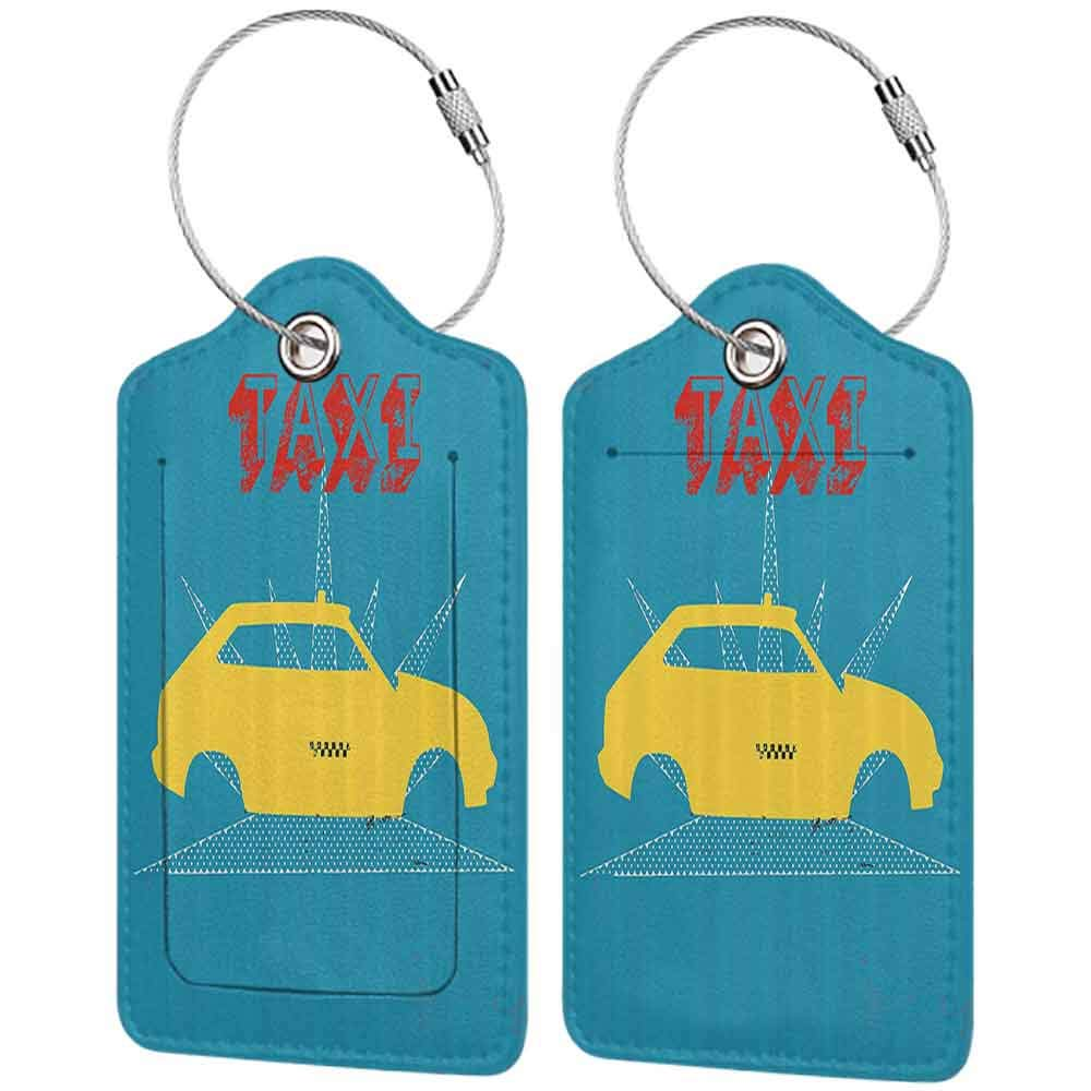 Personalized luggage tag Retro An Old Cab Car with Grunge Taxi Typography Automobile 90s Graphic Design Easy to carry Petrol Blue Yellow W2.7 x L4.6