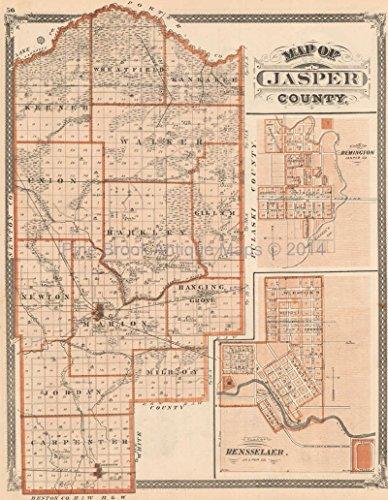 Jasper County Indiana Antique Map Baskin 1876 Original Indiana Decor History Gift ()