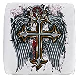 18 Inch 6-Sided Cube Ottoman Cross Angel Wings