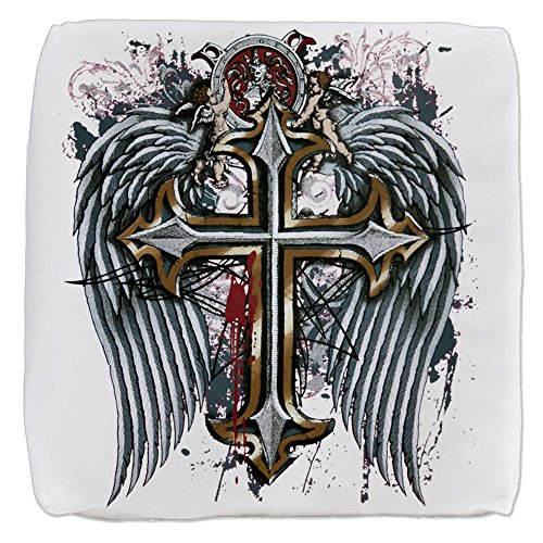 18 Inch 6-Sided Cube Ottoman Cross Angel Wings by Royal Lion