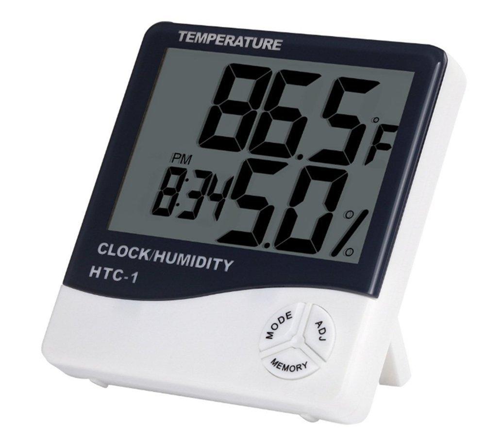 Beauty DIY Mart White Digitak Thermometer Hygrometer Humidity Meter LCD Screen Temperature Clock Alarm Clock Electronic Thermometer Temperature Measurement