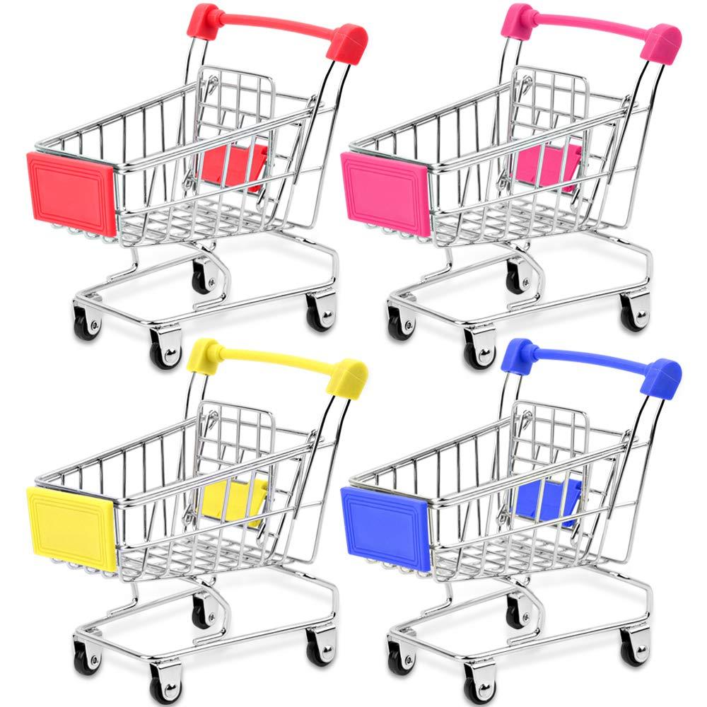 Bestsupplier Mini Supermarket Handcart, 4 Pcs Mini Shopping Cart Supermarket Handcart Shopping Utility Cart Mode Storage Toy by Bestsupplier