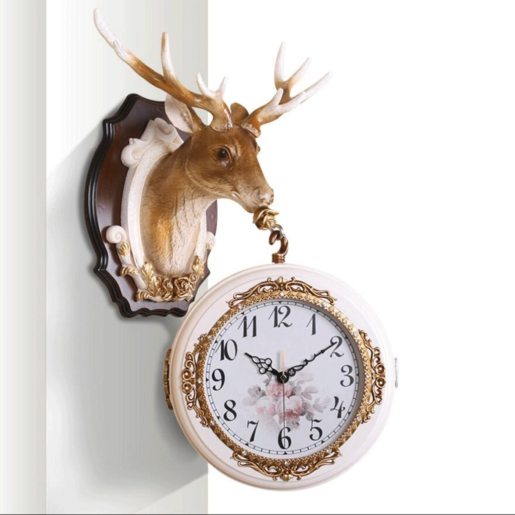 GAOLILI ファッション壁時計クリエイティブミュート壁掛け時計リビングルームベッドルーム時計鹿頭両面壁時計 ( 色 : B ) B07C3QN6GS B B
