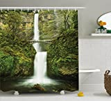 Hobbits Shower Curtain Set by Ambesonne, Falls of Rivendell Multnomah Waterfall Oregon with Hobbit Elf Path Bridge Scene Image, Fabric Bathroom Decor with Hooks, 70 Inches, Green