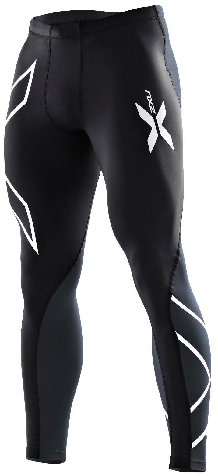 2XU Men's Elite Compression Tights, Black/Steel, X-Large