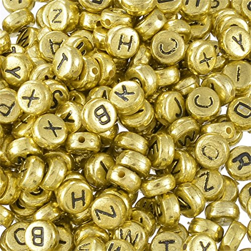 Yc Mixed Acrylic Round Letter Beads Alphabet A to z Loose Beads (7mm, Gold)