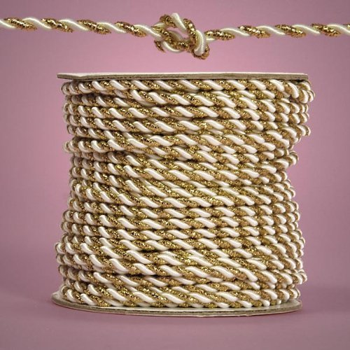 (Gold and White Royal Twisted Cord, 3mm X 25yd)