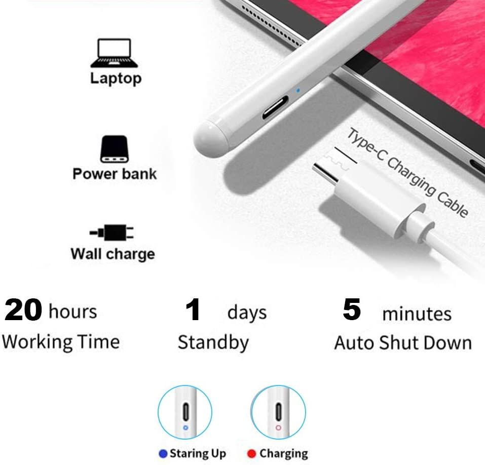 Abeyete Stylus Pen Rechargeable Styli Magnetism Cap Active Stylus Carbon Fiber Nib Touch Screen Pen for All Capacitive Touch Screens iPad,IOS /& Android