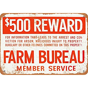 Amazoncom Wall Color 7 X 10 Metal Sign Farm Bureau Reward For