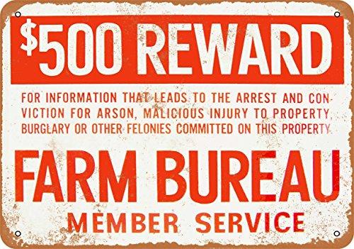 Wall-Color 7 x 10 METAL SIGN - Farm Bureau Reward Crimes - Vintage Look Reproduction