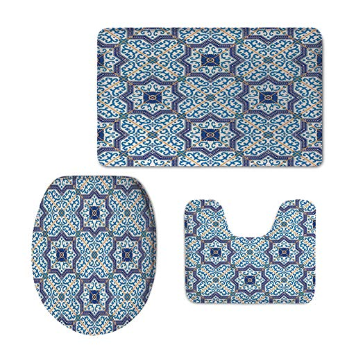 iPrint Fashion 3D Baseball Printed,Moroccan,Moroccan Portuguese Style Classic Tiles Ornaments Islamic Historical Buildings Art,Blue White,U-Shaped Toilet Mat+Area Rug+Toilet Lid Covers 3PCS/Set by iPrint