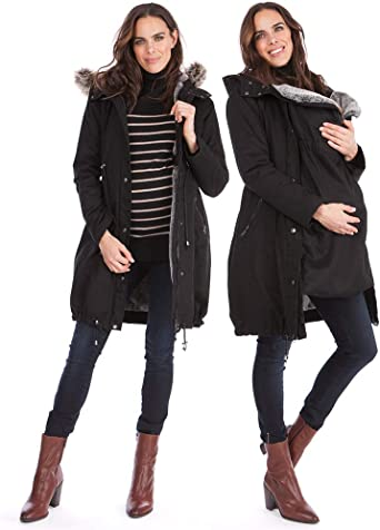 Seraphine Women S 3 In 1 Winter Maternity Parka Jacket Faux Fur Lined At Amazon Women S Clothing Store