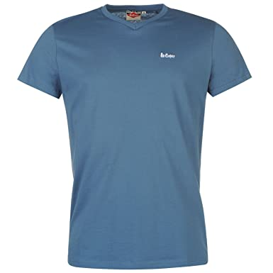 cafc24eac Lee Cooper Essential V-Neck T-Shirt Mens Blue Casual Wear Top Tee Shirt  Large: Amazon.co.uk: Clothing