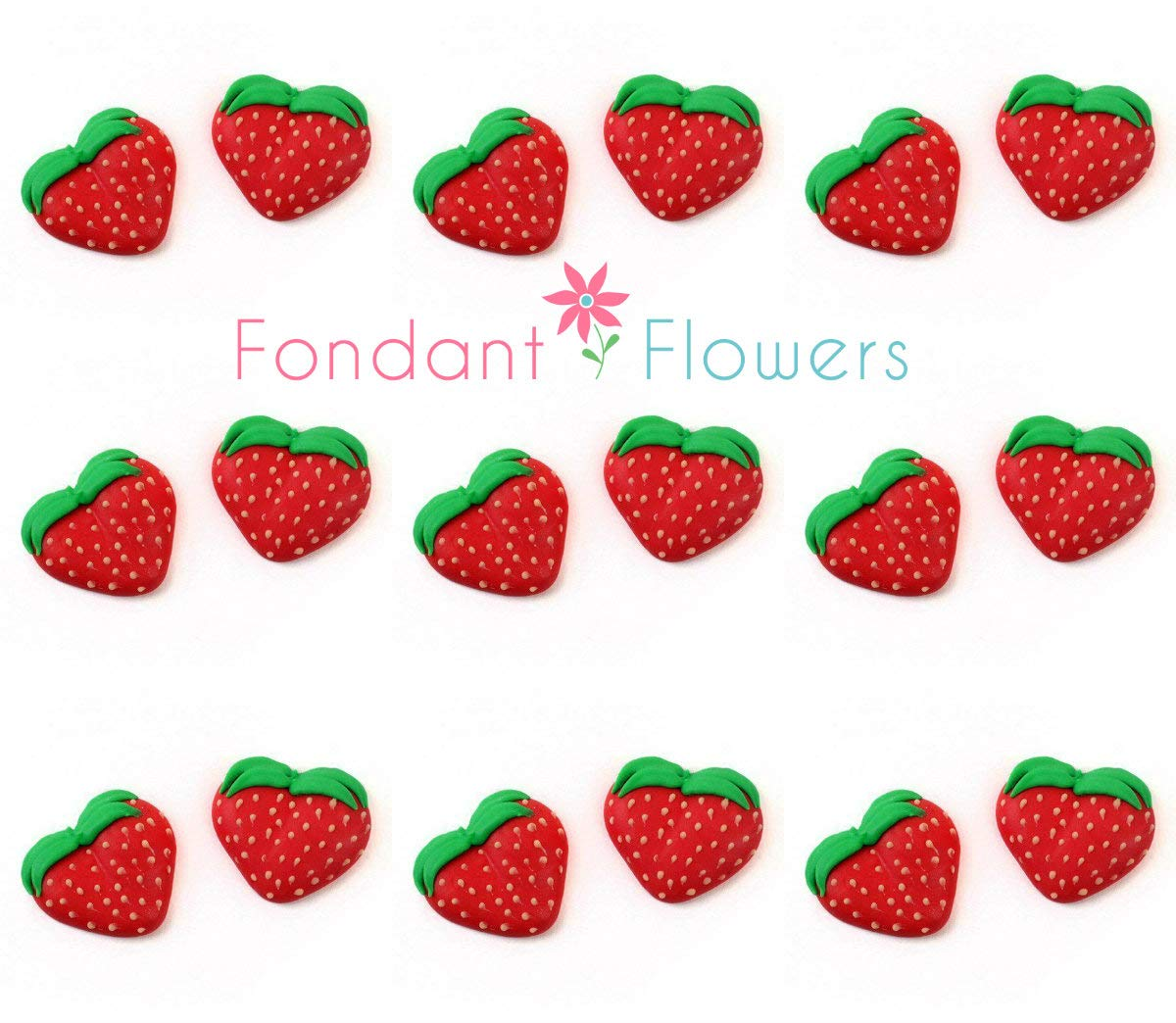 Set of 24 Royal Icing Edible Strawberry Decorations - Cupcake Topper by Sugar Deco