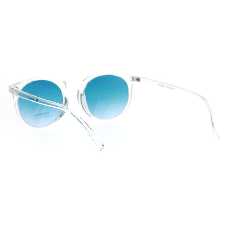 21aa2700c9a1f Amazon.com  Clear Frame Sunglasses Round Keyhole Retro Fashion Blue  Gradient Lens  Clothing