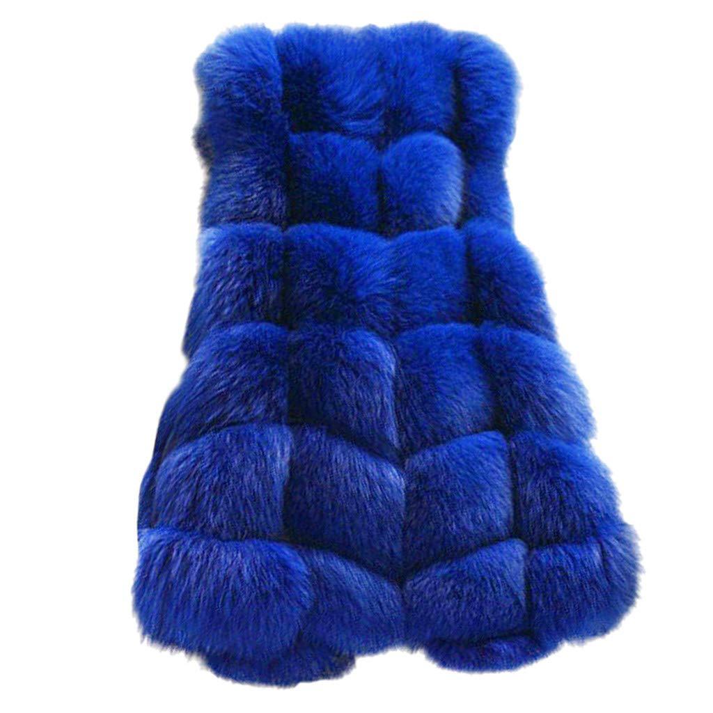 Womens Faux Fur Vest Sleeveless Waistcoat Winter Body Warm Comfy Soft Gilet Jacket Coat Outwear (Blue, XXXXL) by Dacawin-Women Coat