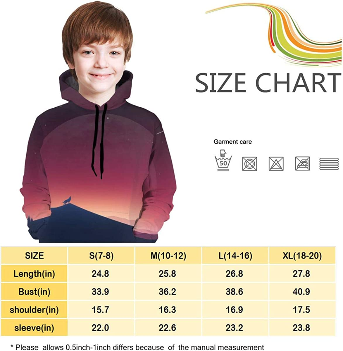 3D Print Pullover Hoodies with Pocket Wolf and Moon Soft Fleece Hooded Sweatshirt for Youth Teens Kids Boys Girls 7-20 Years