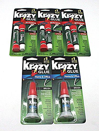 Krazy Glue Bundle - 6pc All Purpose Precision Tip, 2pc Home & Office ()