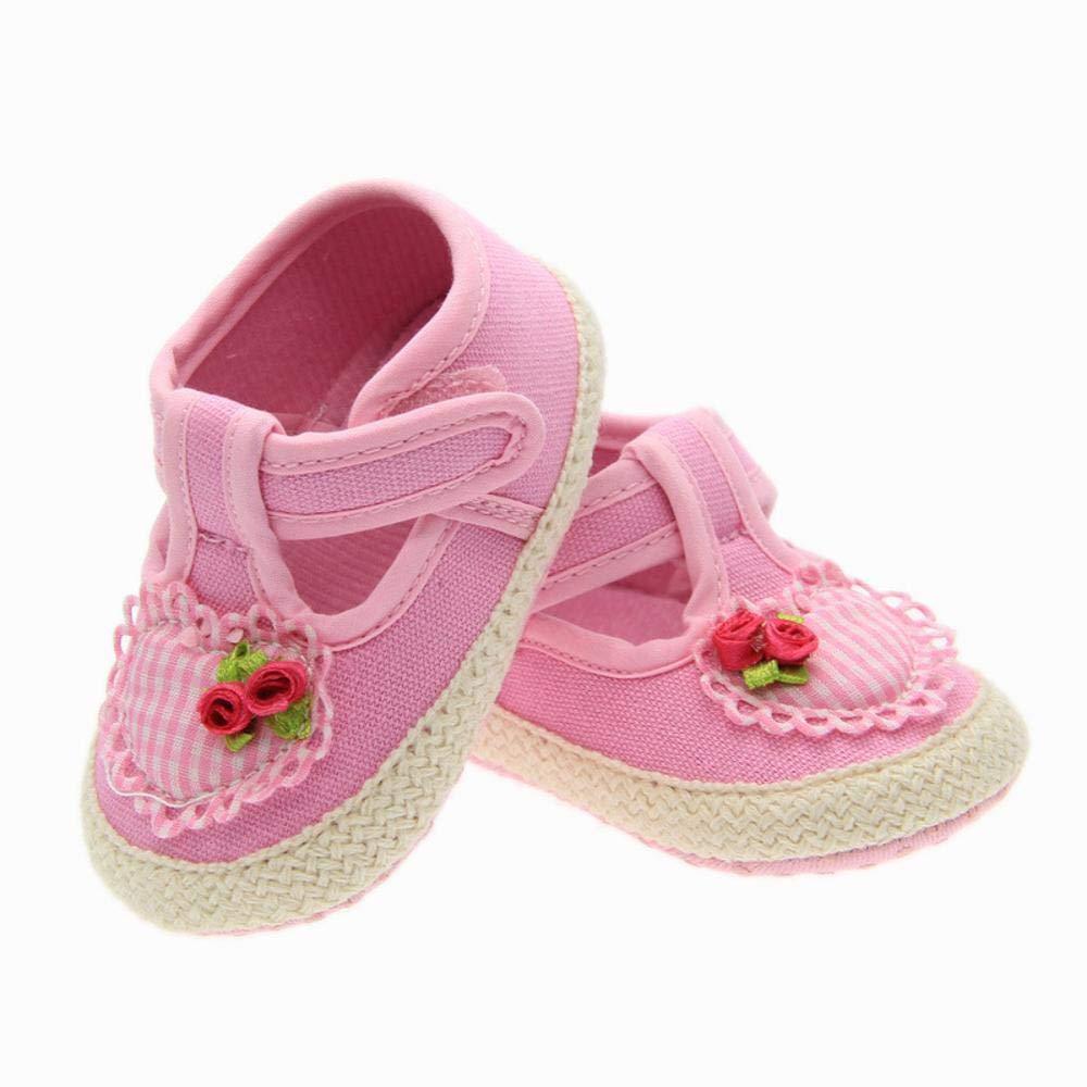 4b37a4867b2b8 YANRR Chaussures à la Main de bébé Rose Type de Coeur Coton brodé Chaussures  bébé Enfant Chaussures Enfants
