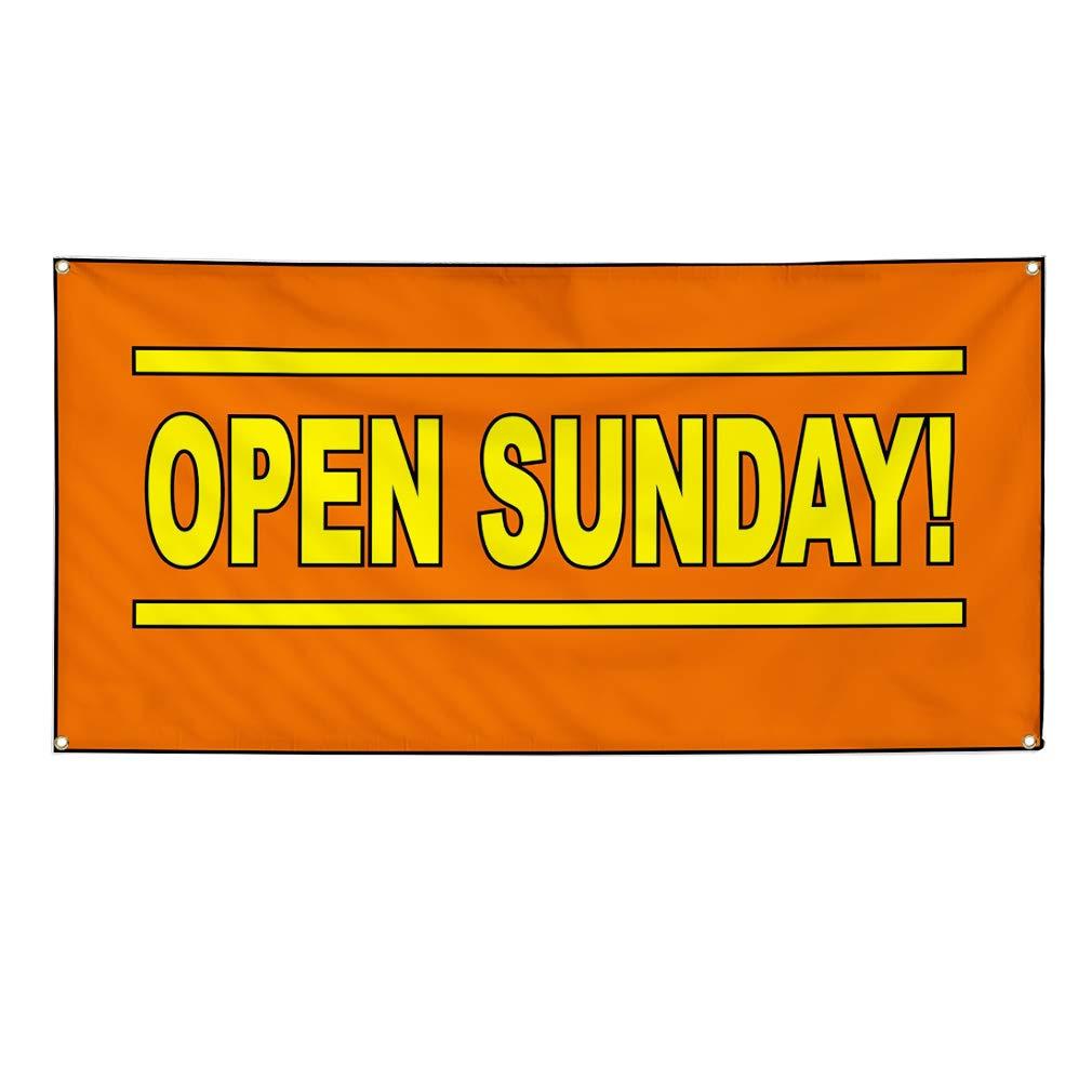 4 Grommets Vinyl Banner Sign Open Sunday Orange Yellow Business Marketing Advertising Orange Set of 3 Multiple Sizes Available 24inx60in