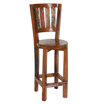 PoliVaz Reclaimed Boat Wood Cottage Counter Stool