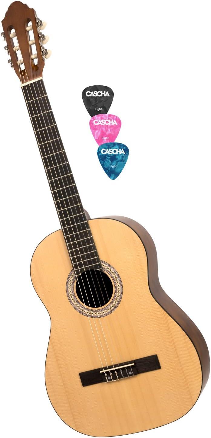 CASCHA HH 2040 Guitarra Clásica 4/4, mate natural, tapa de pícea ...
