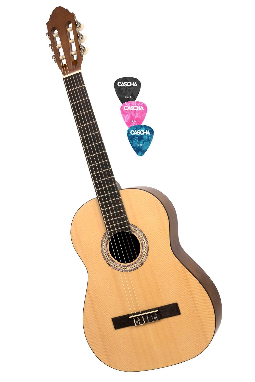 CASCHA HH 2040 Guitarra Clásica 4/4, mate natural, tapa de pícea,