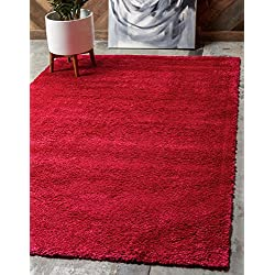 Unique Loom Solo Collection Plush Casual Red Area Rug (3' x 5')