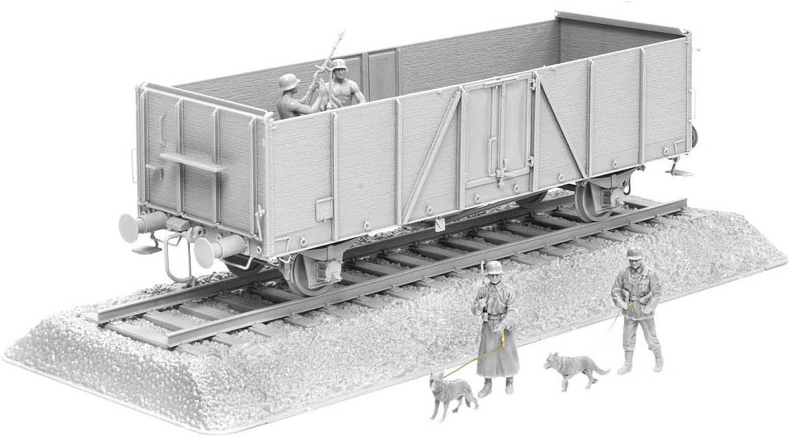 1/35 German Railway Gondola Typ Ommr with Bonus Gun Crew and Mg Gun Plus Accessory, German Feldgendarmerie w/Dogs Figure Set and Length Of Rail Track 617NpmzpNzLSL1193_