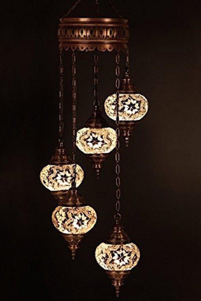 Choose 16 Design - Mosaic Large (4.7'') Chandelier Set 5 Globes, Handmade Authentic Long Tiffany Lighting Moroccan Lamp Glass Stunning Bedside Night Lights Brass&Glass Ottoman Turkish Style (Large/14)