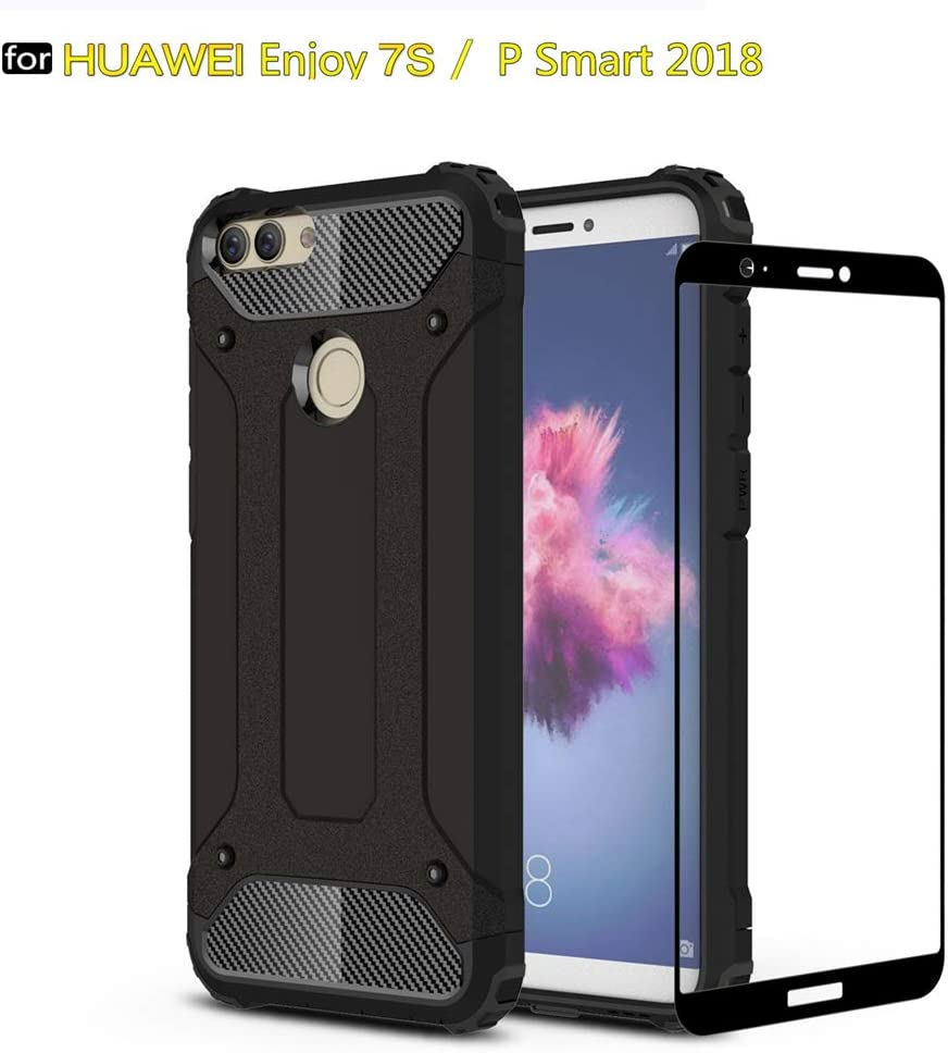 DESCHE para funda Huawei P Smart 2018/Enjoy 7S, Hard PC Soft TPU 2 ...